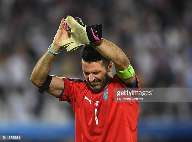 Gianluigi Buffon of Italy fights back the tears after losing on penalties during the UEFA EURO 2016 quarter final match between Germany and Italy at...
