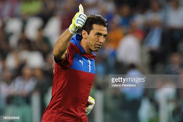 Gianluigi Buffon of Italy gestures during the FIFA 2014 World Cup Qualifier group B match between Italy and Czech Republic at Juventus Arena on...