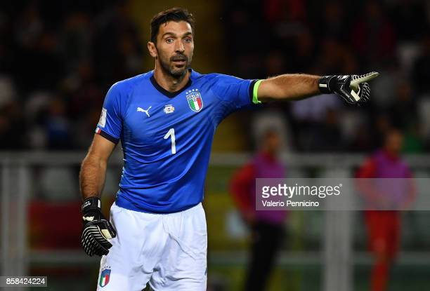 Gianluigi Buffon of Italy gestures during the FIFA 2018 World Cup Qualifier between Italy and FYR Macedonia at Stadio Olimpico on October 6 2017 in...