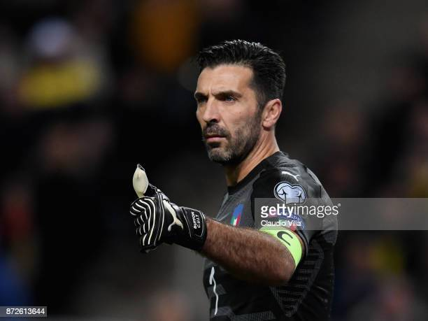 Gianluigi Buffon of Italy gestures during the FIFA 2018 World Cup Qualifier PlayOff First Leg between Sweden and Italy at Friends Arena on November...