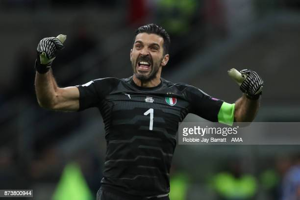 Gianluigi Buffon of Italy gestures towards the fans during the FIFA 2018 World Cup Qualifier PlayOff Second Leg between Italy and Sweden at San Siro...