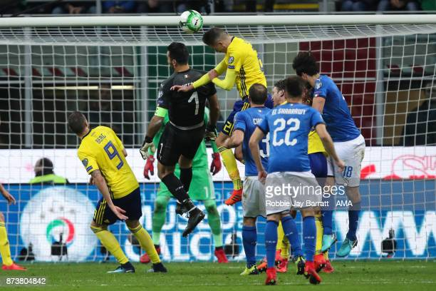 Gianluigi Buffon of Italy goes up for a corner during the FIFA 2018 World Cup Qualifier PlayOff Second Leg between Italy and Sweden at San Siro...