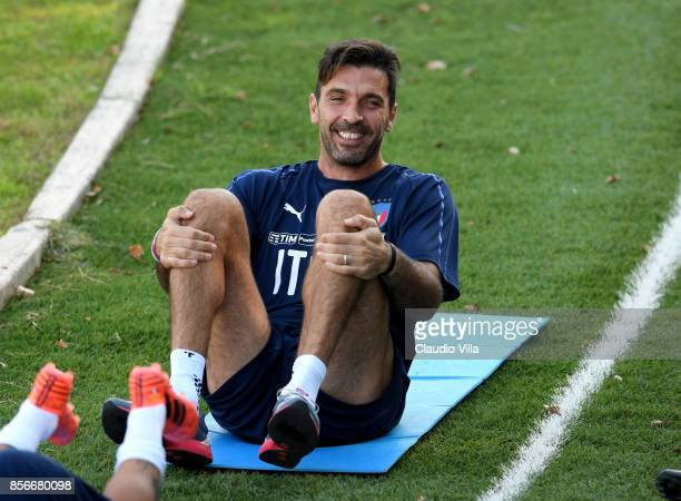 Gianluigi Buffon of Italy in action during a training session at Italy club's training ground at Coverciano on October 2 2017 in Florence Italy