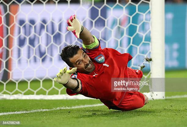 Gianluigi Buffon of Italy in action during penalty shootout of the UEFA Euro 2016 quarter final match between Germany and Italy at Stade de Bordeaux...