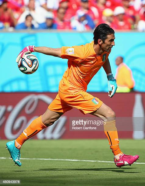 Gianluigi Buffon of Italy in action during the 2014 FIFA World Cup Brazil Group D match between Italy and Costa Rica at Arena Pernambuco on June 20...