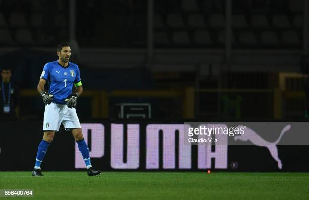 Gianluigi Buffon of Italy in action during the FIFA 2018 World Cup Qualifier between Italy and FYR Macedonia at Stadio Olimpico on October 6 2017 in...