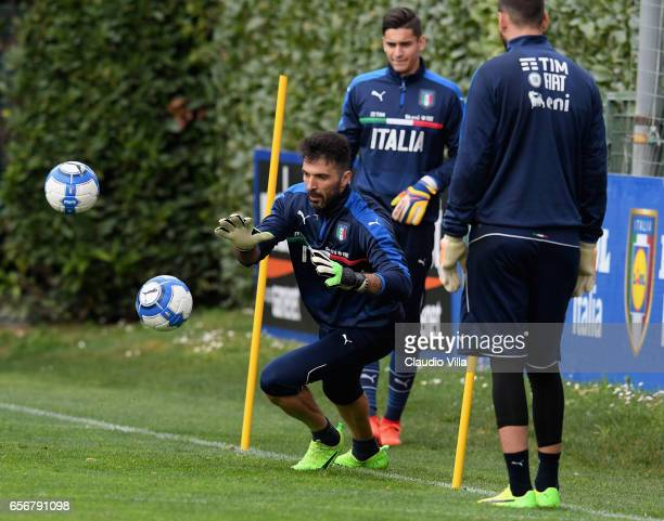 Gianluigi Buffon of Italy in action during the training session at the club's training ground at Coverciano on March 23 2017 in Florence Italy