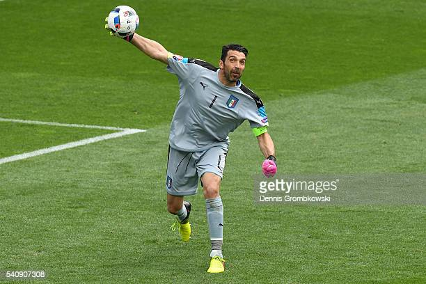 Gianluigi Buffon of Italy in action during the UEFA EURO 2016 Group E match between Italy and Sweden at Stadium Municipal on June 17 2016 in Toulouse...