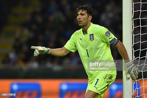 Gianluigi Buffon of Italy issues instructions during the EURO 2016 Group H Qualifier match between Italy and Croatia at Stadio Giuseppe Meazza on...