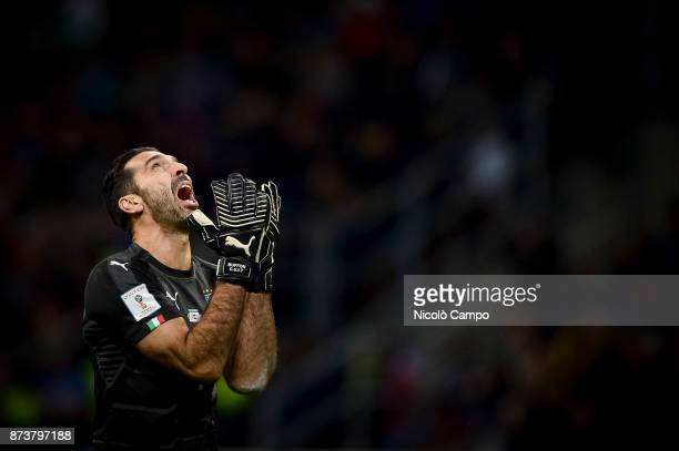 Gianluigi Buffon of Italy looks dejected during the FIFA 2018 World Cup Qualifier PlayOff Second Leg between Italy and Sweden The match ended in a 00...