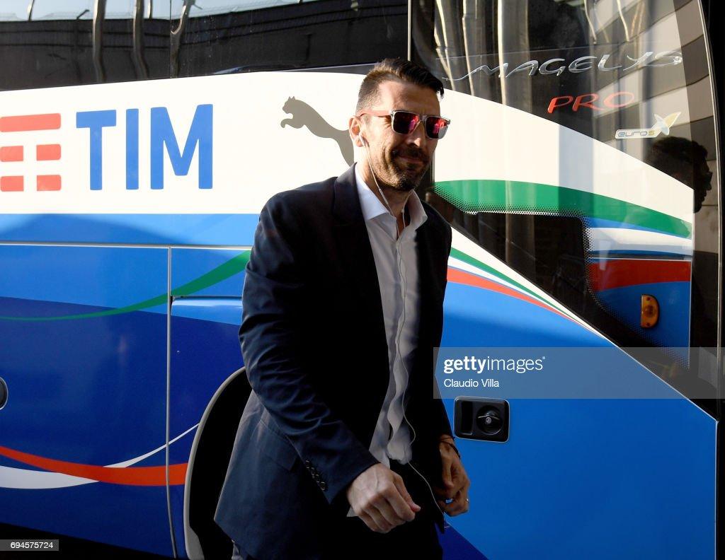 Gianluigi Buffon of Italy looks on during Italy walk around at Stadio Friuli on June 10, 2017 in Udine, Italy.