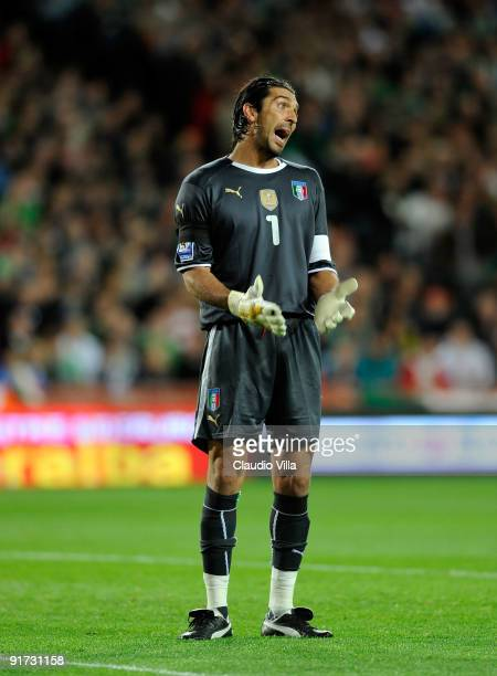 Gianluigi Buffon of Italy looks on during the FIFA 2010 World Cup Group 4 Qualifying match between Republic of Ireland and Italy at Croke Park...