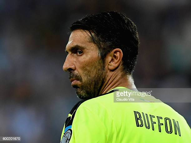 Gianluigi Buffon of Italy looks on during the FIFA 2018 World Cup Qualifier between Israel and Italy at Itztadion Sammy Ofer on September 5 2016 in...
