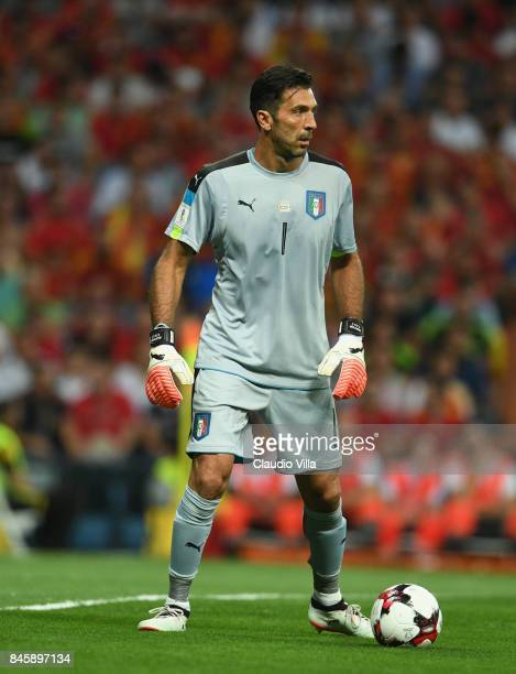 Gianluigi Buffon of Italy looks on during the FIFA 2018 World Cup Qualifier between Spain and Italy at Estadio Santiago Bernabeu on September 2 2017...
