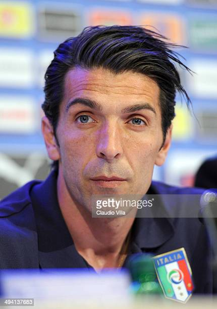 Gianluigi Buffon of Italy looks on during the Italian team press conference at Coverciano on May 28 2014 in Florence Italy
