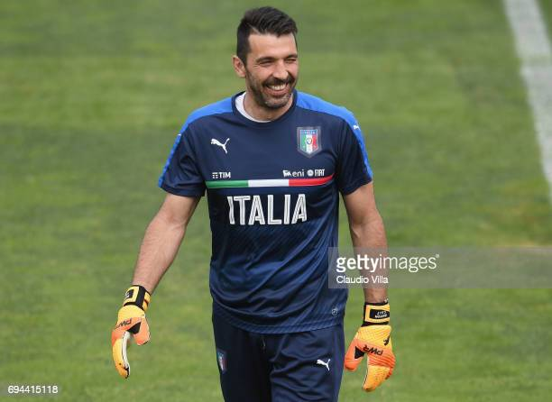 Gianluigi Buffon of Italy looks on during the training session at Coverciano on June 10 2017 in Florence Italy