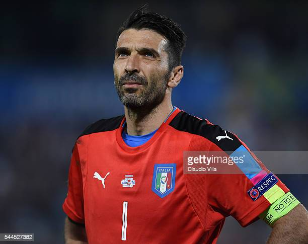 Gianluigi Buffon of Italy looks on during the UEFA Euro 2016 quarter final match between Germany and Italy at Stade Matmut Atlantique on July 2 2016...