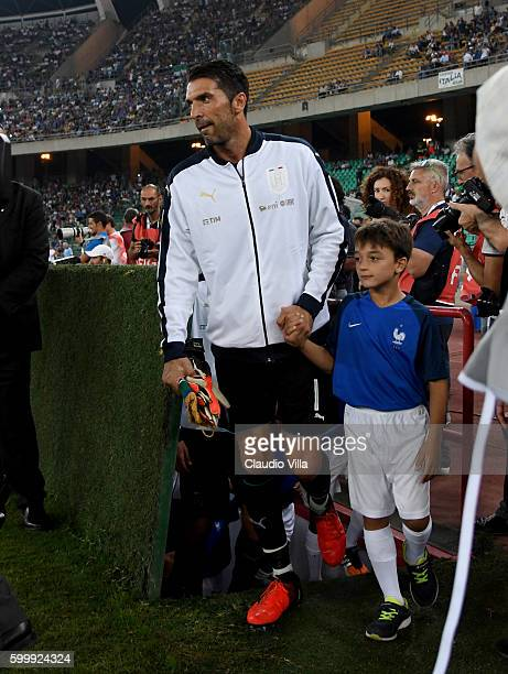 Gianluigi Buffon of Italy looks on prior to the international friendly match between Italy and France at Stadio San Nicola on September 1 2016 in...
