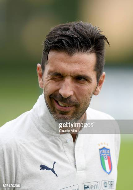 Gianluigi Buffon of Italy looks on prior to the training session at Italy club's training ground at Coverciano on October 3 2017 in Florence Italy