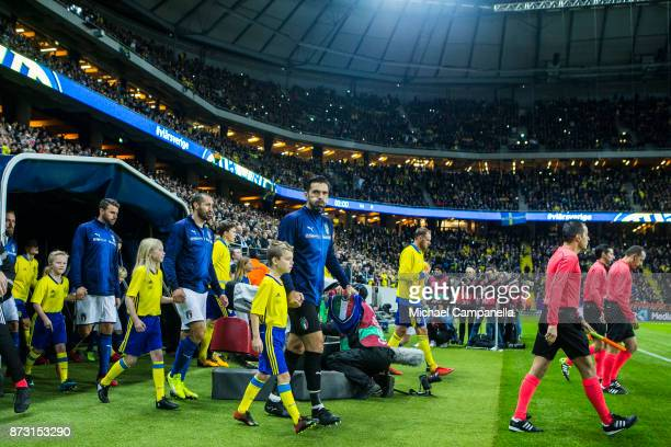 Gianluigi Buffon of Italy makes his entrance onto the pitch during the FIFA 2018 World Cup Qualifier PlayOff First Leg between Sweden and Italy at...