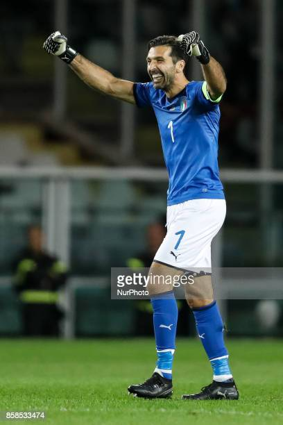 Gianluigi Buffon of Italy national team celebrates a goal during the 2018 FIFA World Cup Russia qualifier Group G football match between Italy and...