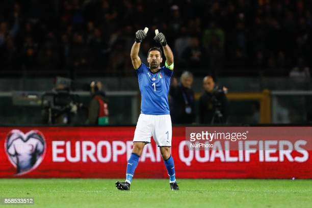 Gianluigi Buffon of Italy national team gestures during the 2018 FIFA World Cup Russia qualifier Group G football match between Italy and FYR...
