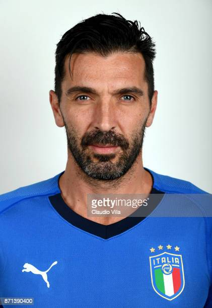 Gianluigi Buffon of Italy poses during the official portrait session at Coverciano on November 6 2017 in Florence Italy