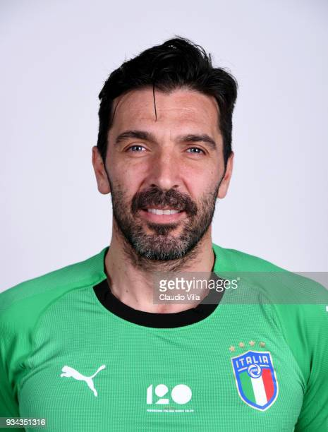 Gianluigi Buffon of Italy poses during the official portrait session at Centro Tecnico Federale of Coverciano on March 19 2018 in Florence Italy