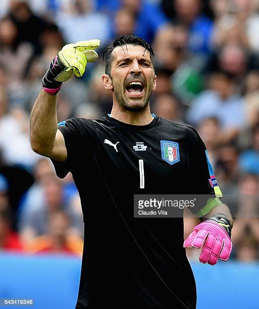 Gianluigi Buffon of Italy reacta during the UEFA EURO 2016 round of 16 match between Italy and Spain at Stade de France on June 27 2016 in Paris...