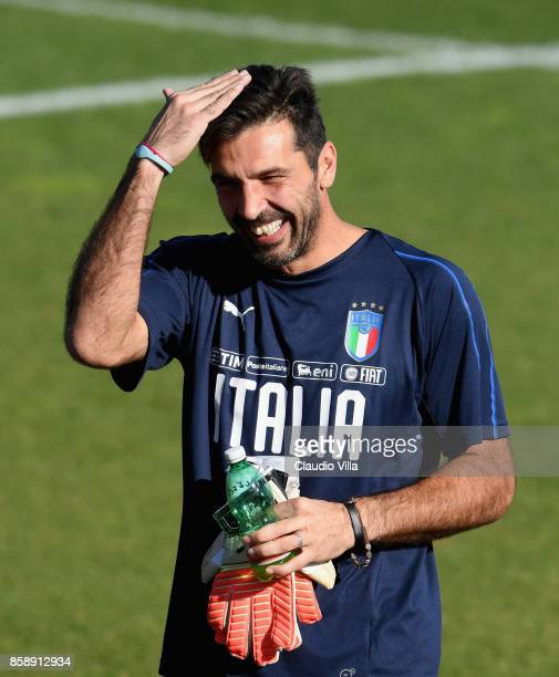 Gianluigi Buffon of Italy reacts during a Italy training session at Sisport Mirafiori on October 8 2017 in Turin Italy