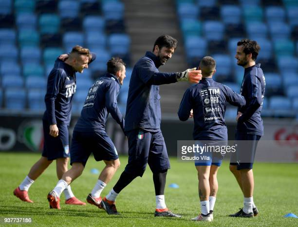 Gianluigi Buffon of Italy reacts during a training session at Manchester City Football Academy on March 25 2018 in Manchester England