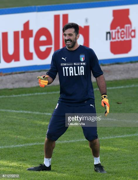 Gianluigi Buffon of Italy reacts during a training session at Italy club's training ground at Coverciano on November 7 2017 in Florence Italy