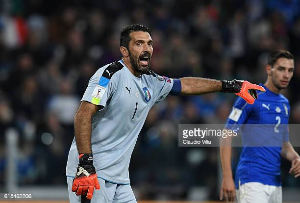 Gianluigi Buffon of Italy reacts during the FIFA 2018 World Cup Qualifier between Italy and Spain at Juventus Stadium on October 6 2016 in Turin Italy
