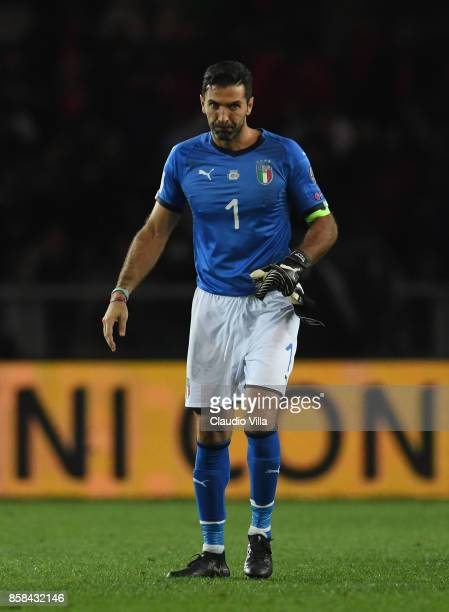 Gianluigi Buffon of Italy reacts during the FIFA 2018 World Cup Qualifier between Italy and FYR Macedonia at Stadio Olimpico on October 6 2017 in...