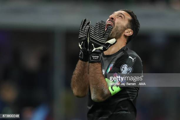 Gianluigi Buffon of Italy reacts during the FIFA 2018 World Cup Qualifier Play-Off: Second Leg between Italy and Sweden at San Siro Stadium on...