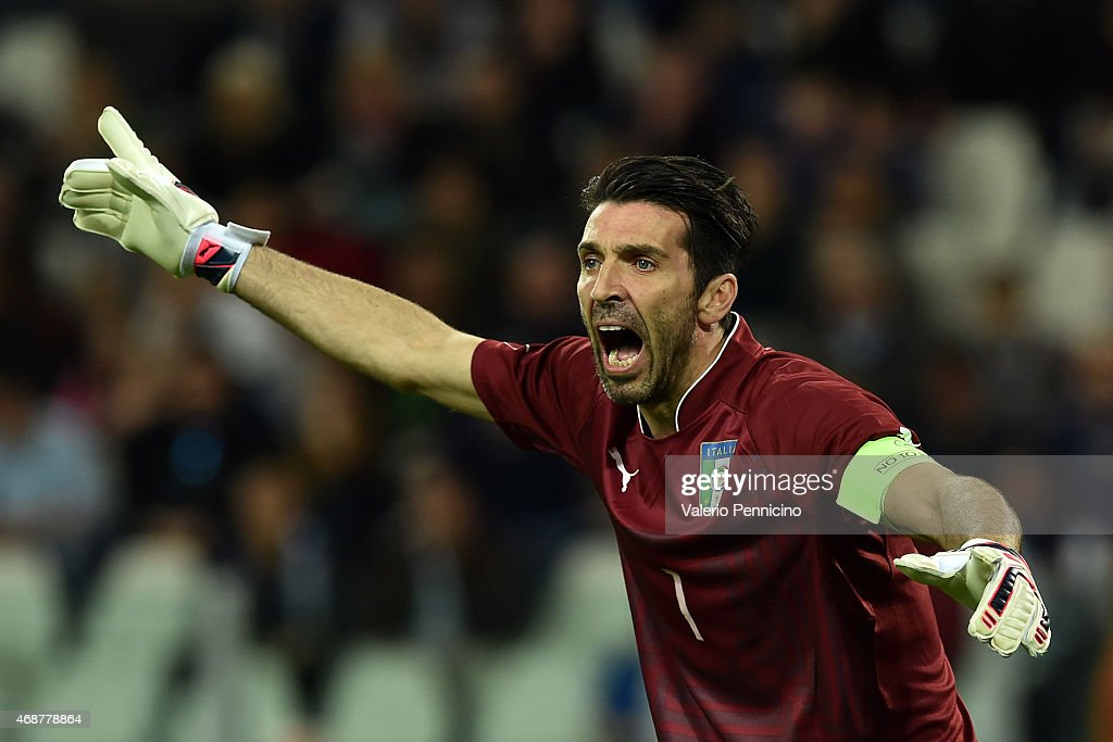 Gianluigi Buffon of Italy reacts during the international friendly match between Italy and England on March 31, 2015 in Turin, Italy.