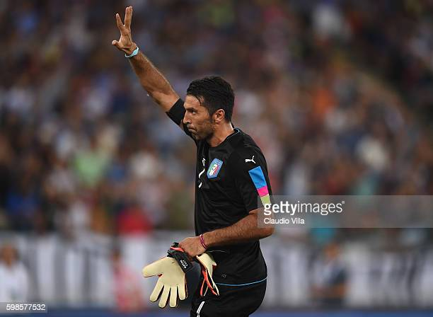 Gianluigi Buffon of Italy reacts during the international friendly match between Italy and France at Stadio San Nicola on September 1 2016 in Bari...