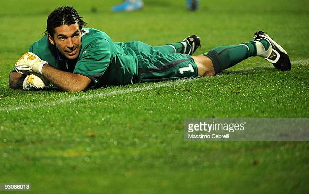 Gianluigi Buffon of Italy reacts during the international friendly match between Italy and Holland at Adriatico Stadium on November 14 2009 in...
