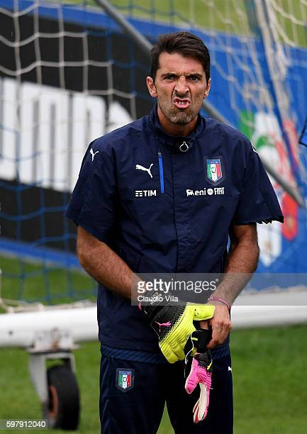 Gianluigi Buffon of Italy reacts during the training session at the club's training ground at Coverciano on August 30 2016 in Florence Italy