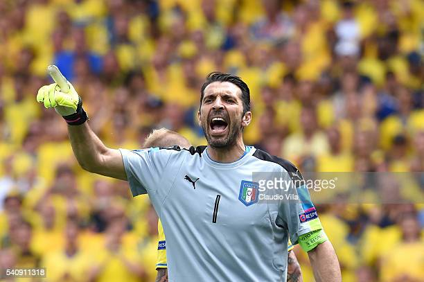 Gianluigi Buffon of Italy reacts during the UEFA EURO 2016 Group E match between Italy and Sweden at Stadium Municipal on June 17 2016 in Toulouse...