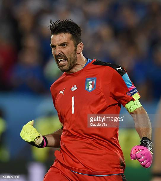 Gianluigi Buffon of Italy reacts during the UEFA Euro 2016 quarter final match between Germany and Italy at Stade Matmut Atlantique on July 2 2016 in...