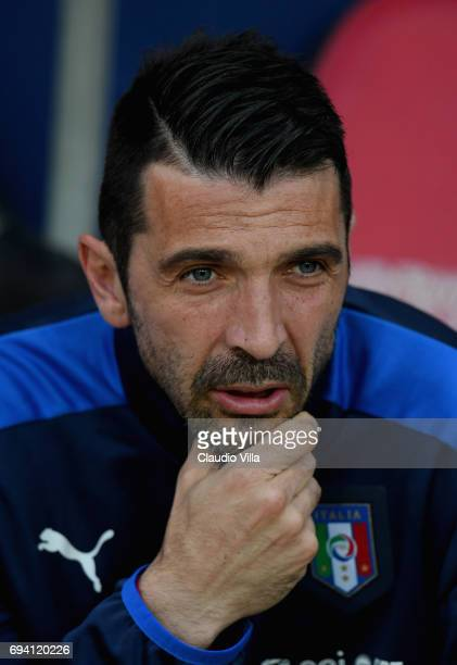 Gianluigi Buffon of Italy reacts prior to the International Friendly match between Italy and Uruguay at Allianz Riviera Stadium on June 7 2017 in...