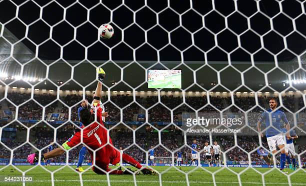 Gianluigi Buffon of Italy saves the ball over the cross bar during the UEFA EURO 2016 quarter final match between Germany and Italy at Stade Matmut...