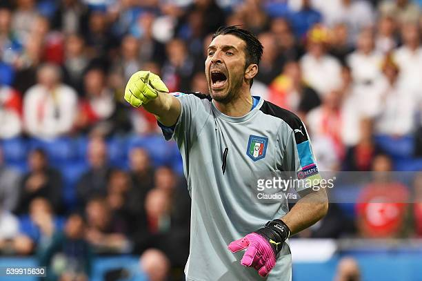 Gianluigi Buffon of Italy shouts during the UEFA EURO 2016 Group E match between Belgium and Italy at Stade des Lumieres on June 13 2016 in Lyon...