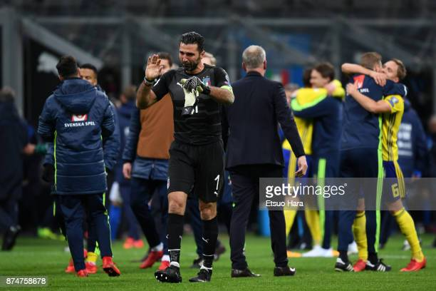 Gianluigi Buffon of Italy shows dejection after the FIFA 2018 World Cup Qualifier PlayOff Second Leg between Italy and Sweden at San Siro Stadium on...