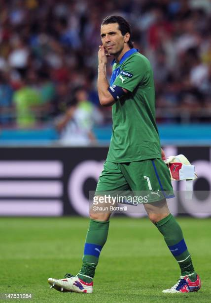 Gianluigi Buffon of Italy shows his dejection after the UEFA EURO 2012 final match between Spain and Italy at the Olympic Stadium on July 1, 2012 in...