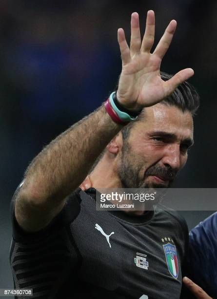 Gianluigi Buffon of Italy shows his dejection at the end of the FIFA 2018 World Cup Qualifier PlayOff Second Leg between Italy and Sweden at San Siro...