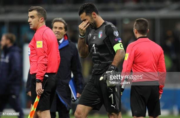 Gianluigi Buffon of Italy shows his dejection shows his dejection at the end of the FIFA 2018 World Cup Qualifier Play-Off: Second Leg between Italy...