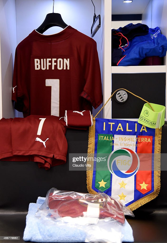 wholesale dealer 7e8c2 e7f97 Gianluigi Buffon of Italy's shirt is seen in the dressing ...