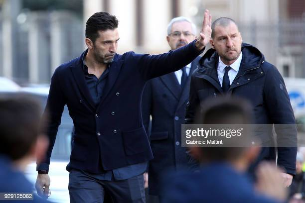 Gianluigi Buffon of Juventus ahead of a funeral service for Davide Astori on March 8 2018 in Florence Italy The Fiorentina captain and Italy...